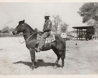 Original Vintage Photograph Man Cowboy on Horse Western Tack Saddle 1940s