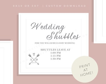 Wedding Suttle Sign | Printable Wedding Shuttle Sign | Downloadable Wedding Shuttle Sign | Wedding Day Sign | Allie Collection