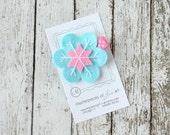 Aqua and Hot Pink Felt Snowflake Hair Clip - Cute Everyday Winter Felt Clippies - Felt Hair Bows - Feltie Hair Clips