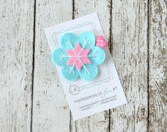 Aqua and Hot Pink Felt Snowflake Hair Clip - Cute Everyday Winter Felt Clippies - Felt Hair Bows - Feltie Hair Clips
