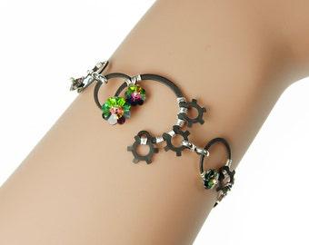 Green Swarovski Crystal Bracelet, Vitrail Medium Swarovski Crystal, Industrial Bracelet, Statement Jewelry, Green Crystal, Nemesis III v15