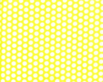 Clearance FABRIC Medium POLKA DOT Yellow and White by Windham 1/2 yard