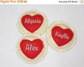 SALE Personalized HEART FELT cookies Pretend food Play food birthday party favors