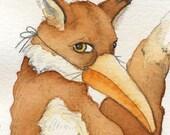"Fox Bird Mask Disguise Woodland Rustic Animal Painting Fox Art Halloween Art Unique Nursery Art Miniature Watercolor Print 3"" x 3"""