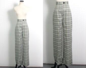 VTG 90's Retro Seafoam Plaid Wide Leg Slacks (Small) 70's Style High Waisted Black & Green Plaid Schoolgirl Trousers Pants Pockets