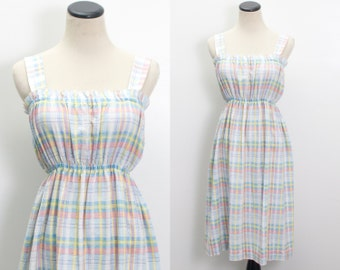 VTG 70's Plaid Strappy Sundress (Small) Apron Empire Jumper Dress Sleeveless Pinafore Blue Pink Yellow Summer Beach