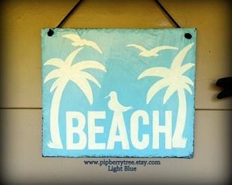 Decorative Beach Slate Sign/Beach Sign/Beach Palm Tree Seagulls Sign/Beach With Pointing To Beach Sign
