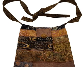 Large Cross Body Hip Purse in Dark Brown Batik