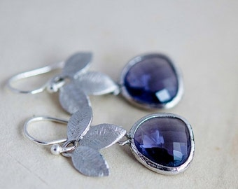 ON SALE Dangle Earrings, Glass Earrings, Lavender, Drop Earrings, Sterling Silver, Nature, Garden Jewelry, Purple, PoleStar,