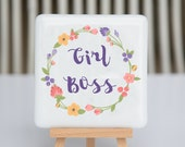 Coaster - Fused glass - Girl Boss - purple flower wreath