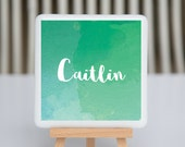 Coaster - Fused glass - personalized with name - blue-green watercolor