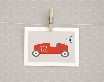 Clearance | Art Print | Race Car | Red | Kids Wall Art | 5x7 | Boy