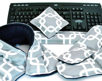 Office Heat Therapy Rice Bags, Stress Desk Accessories, Ergonomic Keyboard Mouse Wrist Rest, Microwave Neck Wrap, Gray White Grey
