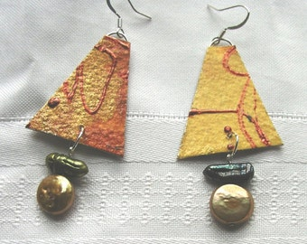 Copper and yellow paper earrings