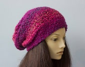 Slouchy Hat,  Chunky Hat, Hand Crochet Hat, Slouchy Beanie, Multi Red, Magenta Hat, Warm Winter Hat