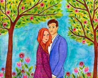 Custom Couple Portrait, Custom Couple Painting, Custom Art Wedding Portrait, Custom Wedding Gift, Anniversary Gift, Made to Order Painting