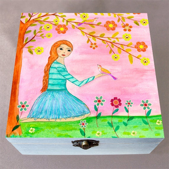 Girl 39 s jewelry box large wooden jewelry box handmade for Girls large jewelry box