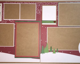 LET IT SNOW 12 x 12 premade scrapbook layout - Winter Layout Snow