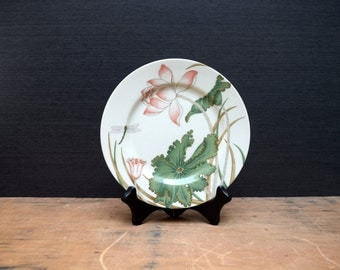 Fitz & Floyd Lotus Garden Salad Plate, Flowers and Dragonfly Plate, 1980 Made in Japan