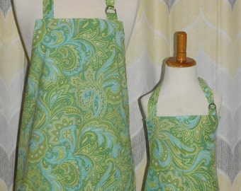Green & Blue Paisley Print Mommy and Me Matching Apron Set for Adult and Child - Free OR Priority Shipping