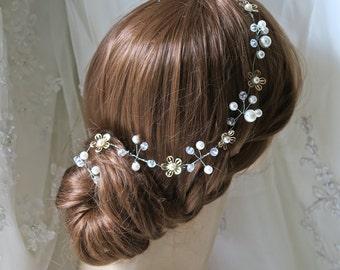 Bridal hair vine - Timeless wedding floral and crystal hair vine -  wedding hair accessories Ready to Ship
