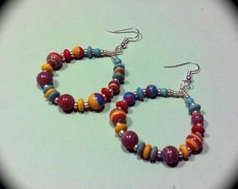 Turkey Turquoise Long Dangle Hoop Style Earrings for Everyday Wear Fashion Earring Boho Native Hippie Tribal Ethnic