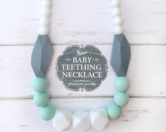 Free Shipping in Canada - Baby Teething Necklace - Silicone Teething Nursing Necklace - White, Mint and Grey