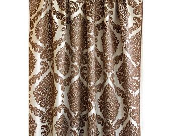 "Brown N Ivory Damask Grommet Unlined Curtain 52""x84"" Burnout Velvet Fabric Decor Housewares Window Treatment Drapes Panels Damask Curtains"