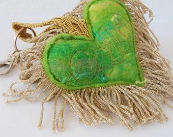 Calm Green Plush Love Heart Keychain - A special handmade felt keyring with gold tassel fringe. Bag Charm. Key Fob. Key Chain. Key Ring