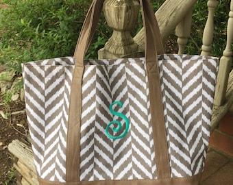 Herringbone Tote Bag-Personalized Monogrammed Tote Bag-Taupe Bag