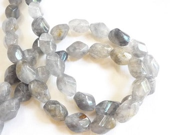 25% Off SALE Natural Silver Quartz Spiral Twist Barrel Beads 1/2 Strand, Tourmalated Quartz Beads