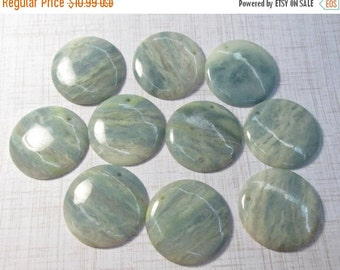25% Off SALE Natural Aquamarine Briolette Pendant Bead 45mm, QTY1, Large Round Coin Bead