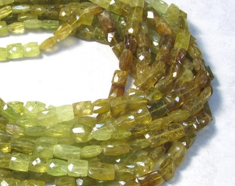 Fine Grossular Green Garnet Beads, Natural Garnet Rectangle, 14 Inches , 8mm x 10mm Rectangle