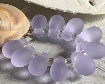Handmade Lampwork Glass Beads SRA Frosted Lavender Seaglass Teardrop Dangles (10)