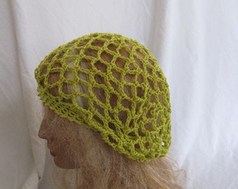 Lime Lacey Slouchy Beret/Tam/Dreadlock Hat (5272)