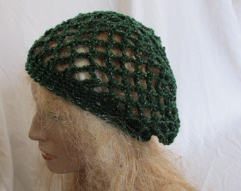 Forest Green Sparkle Lacey Slouchy Beret/Tam/Dreadlock Hat (5276)