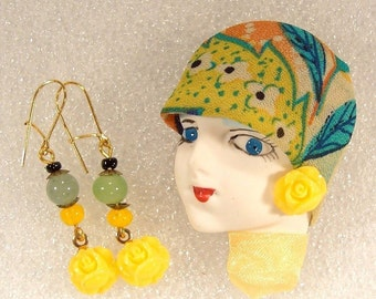 LADY HEAD Face Porcelain-Look Resin Brooch Pin Figural Yellow Rose Earrings OOAK - Ruthetta