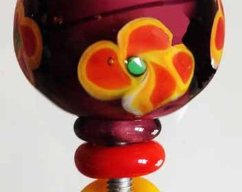 Purple Glass Knob - Handmade Venetian Glass Cabinet Knobs for Furniture, Kitchen and Baths,Violet, Orangey- Red and Yellow Fleurs, Lampwork