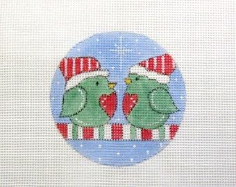 Christmas Santa Hat Love Birds Sitting on a Candy Cane Limb Handpainted Needlepoint Canvas