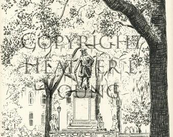 Chippewa Square - Pen and Ink Black and White Savannah Print