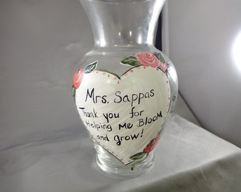 Custom teacher gift sentiment vase