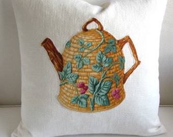 TEAPOT appliqued on off white linen decorative pillow cover 20x20
