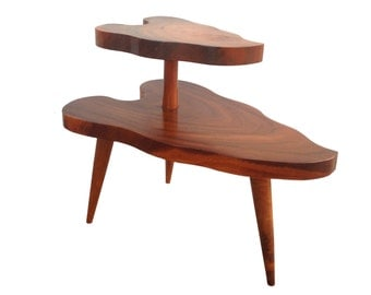 Summer Sale Mid Century Modern 2 Tier Wood Side Table with Tapered Legs