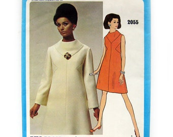 1960s Vintage Vogue Americana 2055 - Bill Blass - Mod DRESS Jumper - Designer Fashion Dress / UNCUT FF / Size 12