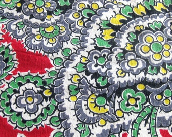 Vintage  Cotton Fabric Large Print Paisley in Red, Green, Gray and Yellow / Cotton Yardage