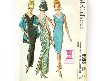 1960s Vintage Sewing Pattern - MOD Evening DRESS and Stole - McCalls 6998 / Size 12