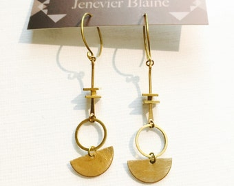 Gold Tone Half Circle Hoops and Squares Earrings