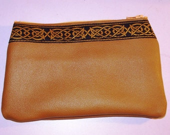 Dark Mustard LEATHER Zip Pouch,Bag, Embroidered Celtic Trim