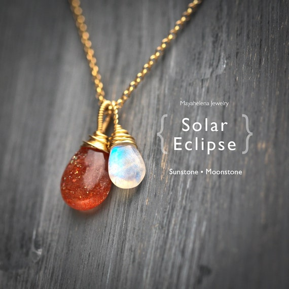 Solar Eclipse - Moonstone and Sunstone Wire Wrapped Sterling Silver Necklace