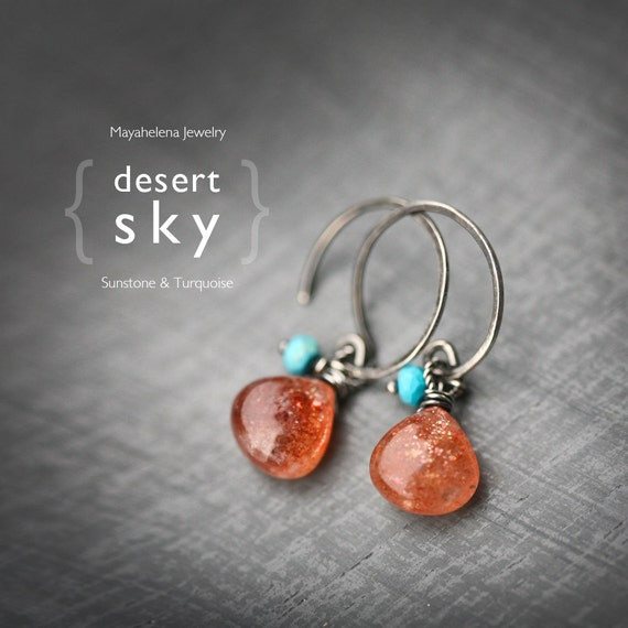 Desert Sky - Sunstone and Turquoise Wire Wrapped Blackened Sterling Silver Earrings